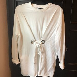 Topshop White Long Sleeved Tunic Top